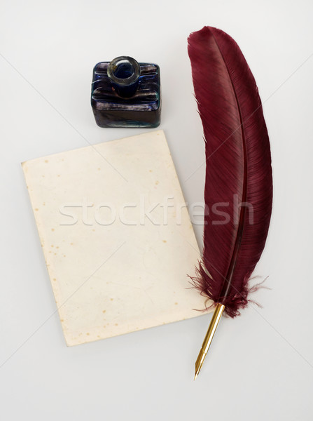 Quill, letter and ink well Stock photo © goir