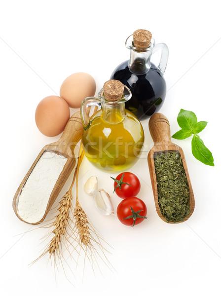 Ингредиенты сырой изолированный белый томатный растительное Сток-фото © goir