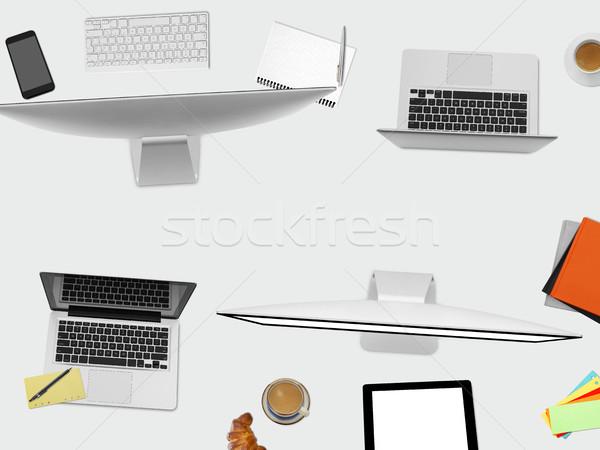 Irodai asztal közvetlenül fölött kilátás dolgozik asztal Stock fotó © goir