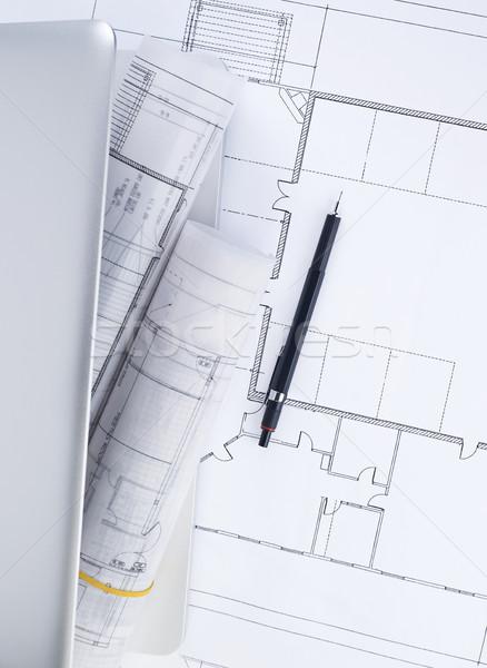 Tervrajzok laptop terv építész terv tervez Stock fotó © goir