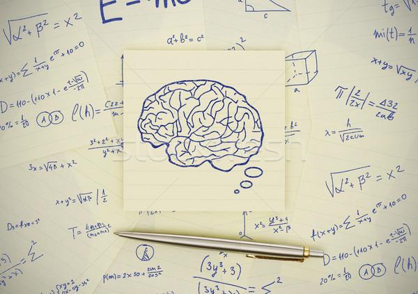 Cerveau tirer adhésif note papier crayon Photo stock © goir