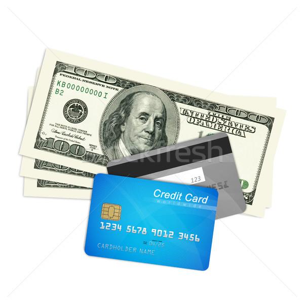 Creditcards geld dollar geïsoleerd witte veiligheid Stockfoto © goir