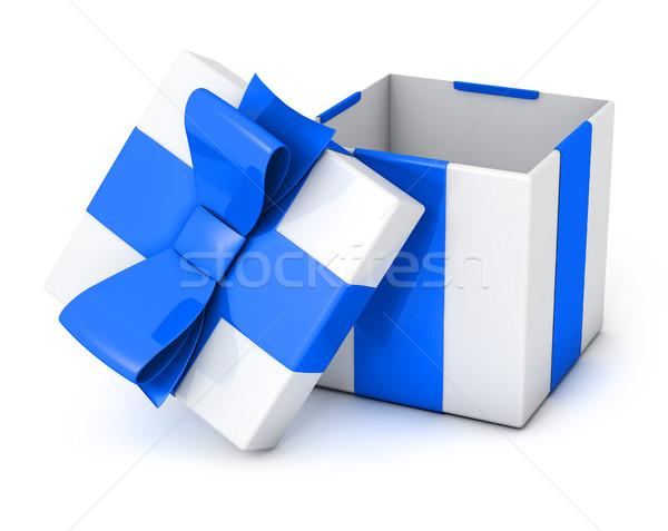 Photo stock: Présents · boîte · ouvrir · isolé · blanche · bleu