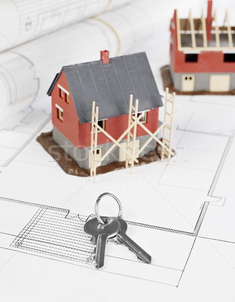 Projekt tervrajzok ház struktúra kulcsok terv Stock fotó © goir