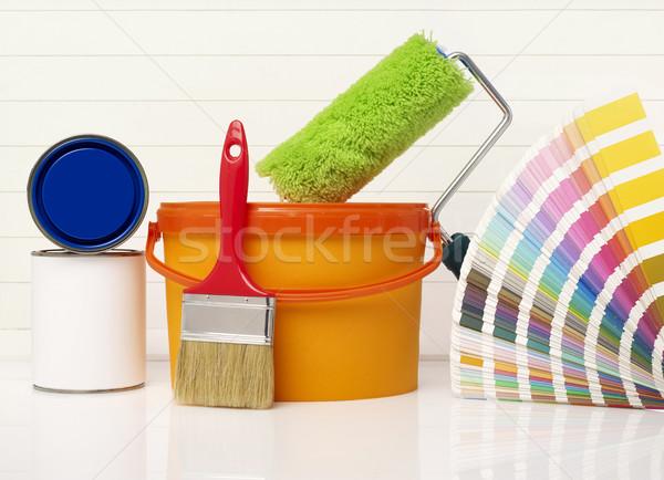 Pintura equipamento pintar balde de tinta cor cores Foto stock © goir