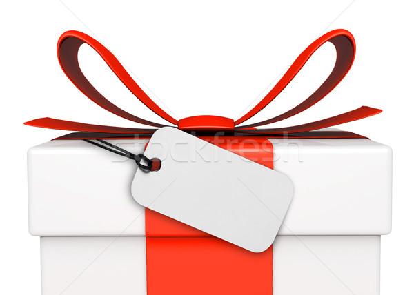 ár címke ajándék doboz születésnap piros fehér Stock fotó © goir