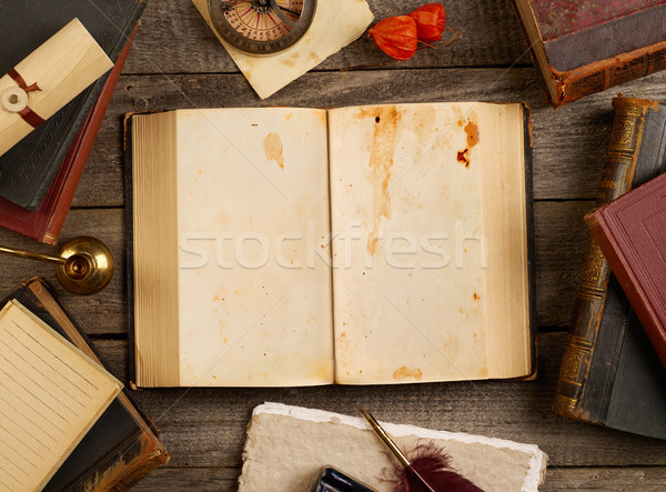 Blank antique book open Stock photo © goir