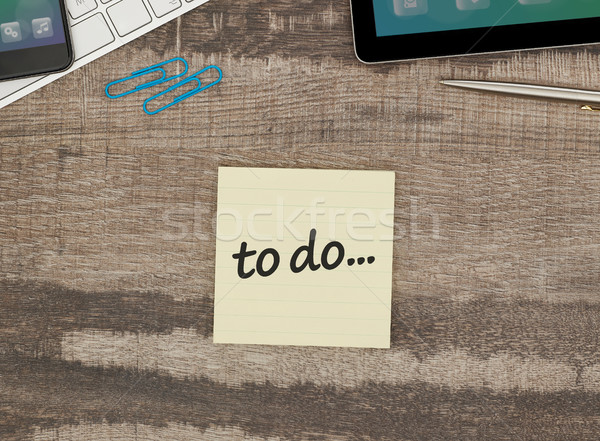 Stockfoto: Zelfklevend · nota · kantoor · tabel · papier · schrijven