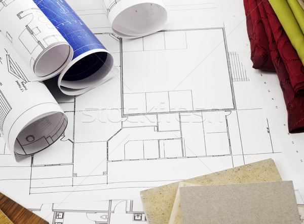 Blueprints and construction materials Stock photo © goir
