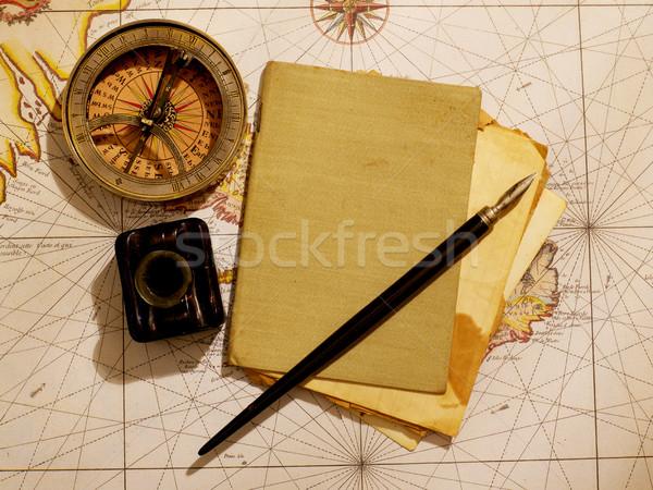Tijdschrift kompas oude kaart wereldbol man zee Stockfoto © goir