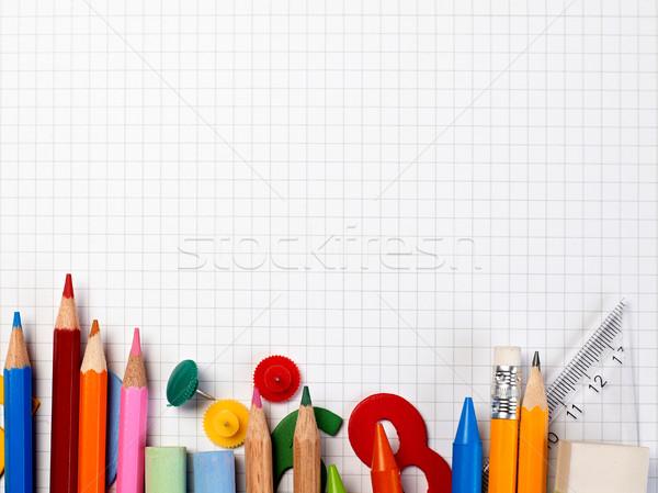 Notebook készlet papír oktatás asztal fehér Stock fotó © goir