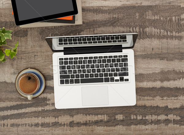 Stock fotó: Laptop · dolgozik · asztal · közvetlenül · fölött · kilátás