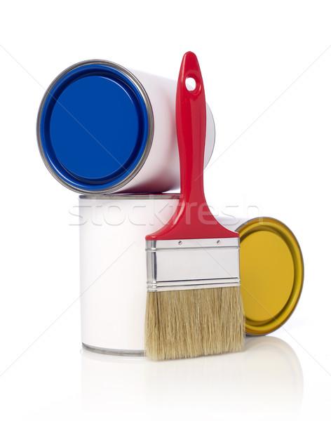 ストックフォト: 絵筆 · 塗料 · 孤立した · 白 · コンテナ · することができます