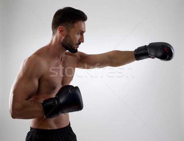 Boxoló izmos boxkesztyűk sport tornaterem box Stock fotó © goir
