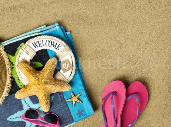 приветствую пляж копия пространства песок солнце лет Сток-фото © goir