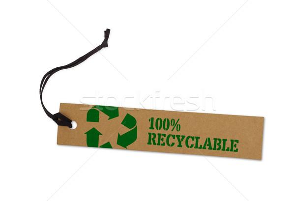 Photo stock: Recycler · étiquette · isolé · blanche · papier · nature