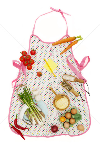 Kitchen apron and ingredients Stock photo © goir