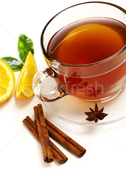 Сток-фото: чай · корицей · апельсинов · изолированный · белый · пить