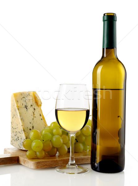 Witte wijn kaas druiven geïsoleerd witte drinken Stockfoto © goir