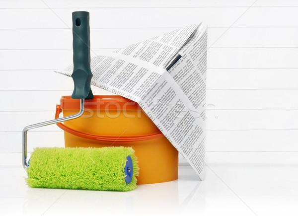 Wiadro farby kask odizolowany biały pojemnik Zdjęcia stock © goir