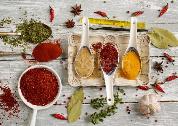 Fűszer variáció kanál mag fotózás só Stock fotó © goir