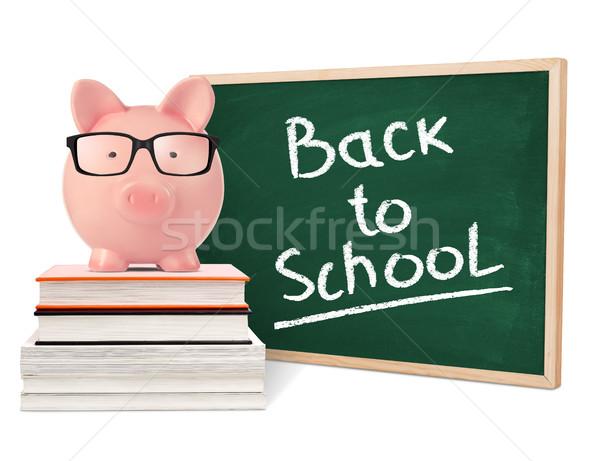 Terug naar school spaarvarken Blackboard geïsoleerd witte onderwijs Stockfoto © goir