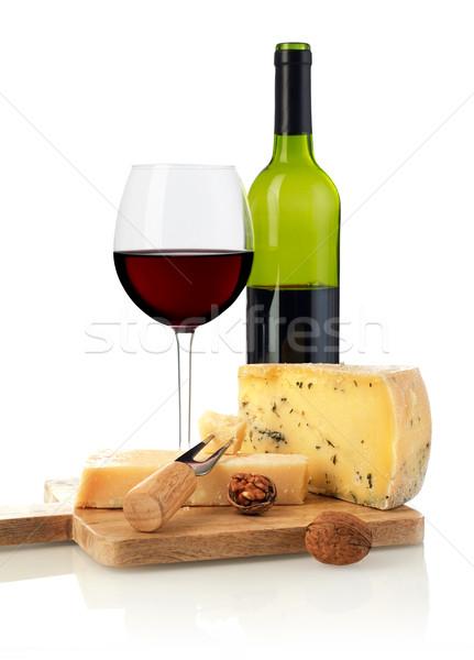 赤ワイン チーズ 孤立した 白 食品 ドリンク ストックフォト © goir