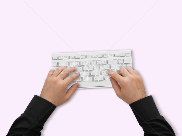 Kezek számítógép billentyűzet férfi gépel izolált dolgozik Stock fotó © goir