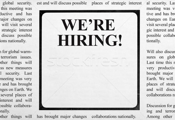 Trabajo anuncio periódico titular papel datos Foto stock © goir