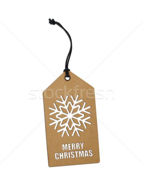 снежинка тег изолированный белый бумаги знак Сток-фото © goir