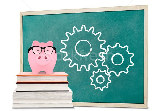 Piggy bank and gears drawnings on blackboard Stock photo © goir