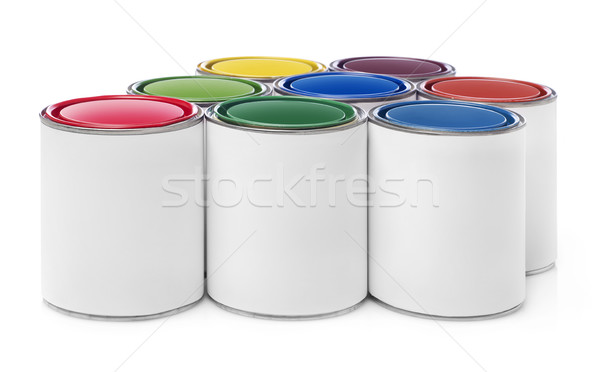 Peinture isolé blanche contenant peuvent Photo stock © goir