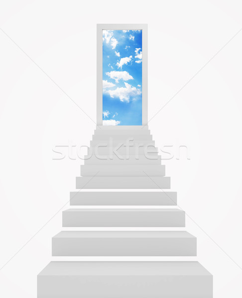Lépcsőfeljáró menny nyitott ajtó vezető égbolt fehér Stock fotó © goir