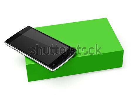 Mobiltelefon doboz izolált fehér technológia modern Stock fotó © goir