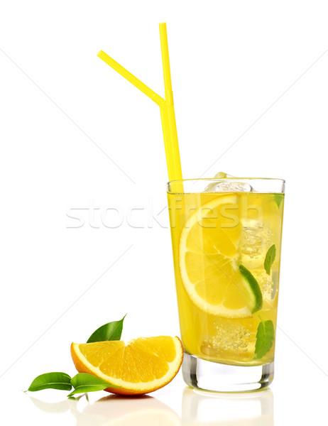 Tequila Świt pomarańczowy koktajl pomarańczowy plasterka odizolowany Zdjęcia stock © goir