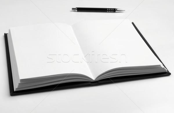 図書 ペン 白 紙 注記 ストックフォト © goir