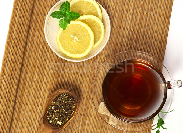 Thee citroen beker suiker mok Stockfoto © goir