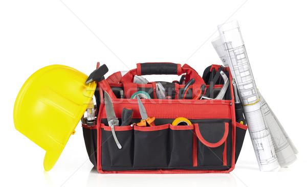 Toolbox, hardhat and blueprints Stock photo © goir