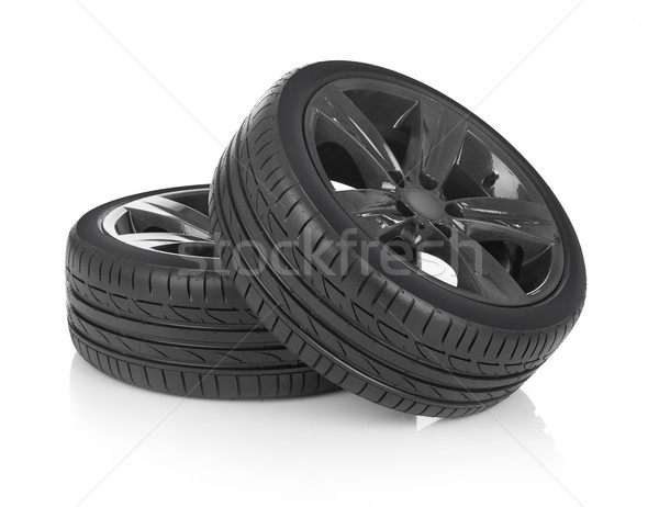 Roues voiture isolé blanche sport métal Photo stock © goir