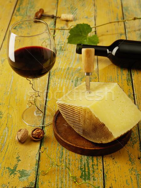 チーズ 赤ワイン 木製のテーブル 静物 表 ワインボトル ストックフォト © goir