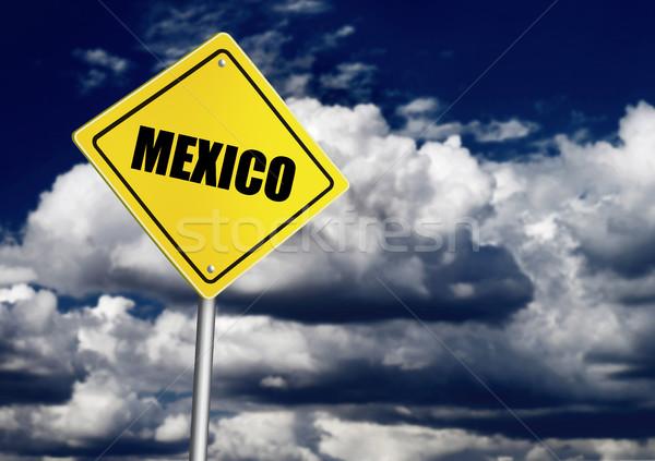 Mexikó felirat égbolt felhő biztonság veszély Stock fotó © goir