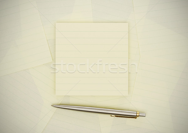 Tapadó jegyzetek toll fa Stock fotó © goir