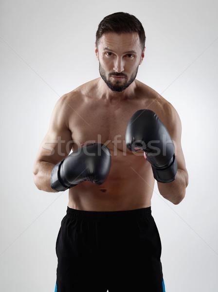 Prêt lutte musculaire boxeur gants de boxe sport Photo stock © goir
