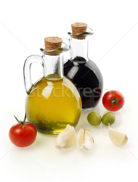 Vergine olio aceto ingredienti isolato bianco Foto d'archivio © goir