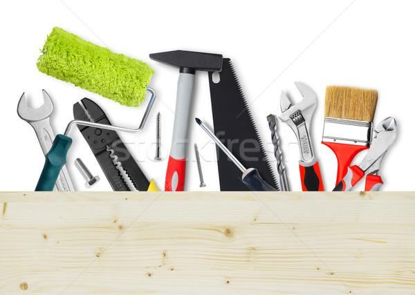 Foto stock: Herramientas · espacio · de · la · copia · trabajo · madera