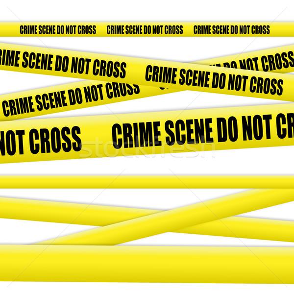 Bűnügyi helyszín szalag fehér felirat törvény biztonság Stock fotó © goir