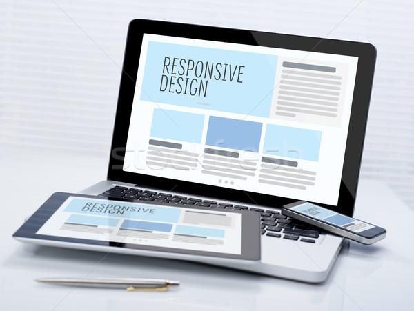 敏感な デザイン デスク ビジネス コンピュータ ストックフォト © goir