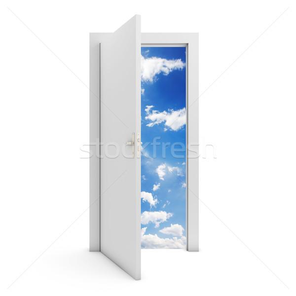 открытых дверей ведущий небе белый двери изолированный Сток-фото © goir
