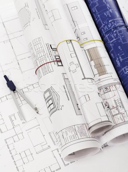 Photo stock: Blueprints · boussole · papier · crayon · industrie · plan