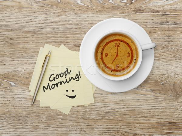 Bonjour un message adhésif note papier crayon Photo stock © goir